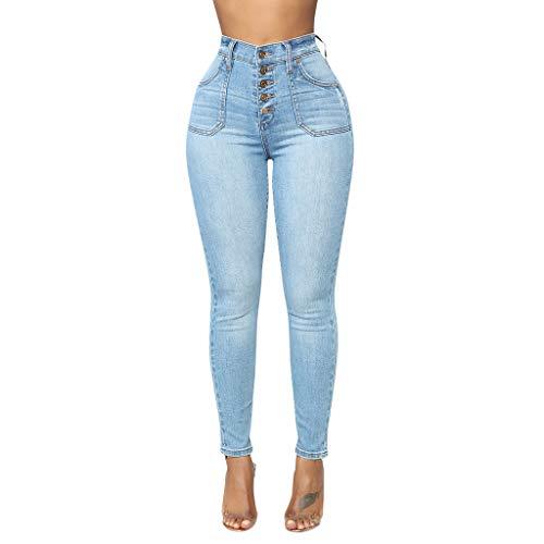 FRAUIT Pantaloni Donna Estivi Vita Alta Elasticizzati Pantaloni Ragazza Jeans Strappati Stretti Pantaloni Eleganti A Sigaretta con Tasche Pantalone Elegante Curvy Denim