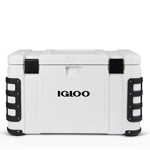 Igloo Leeward Cooler with Cutting Board, Fish Ruler, and Tie-Down Points - Marine-Grade Ice Chest - White… (50 Quart)
