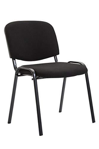 CLP Besucherstuhl Ken mit hochwertiger Polsterung und Stoffbezug I Stapelstuhl mit robustem Metallgestell und gepolsterter Rückenlehne, Farbe:schwarz