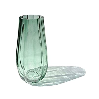 "Hand-Made Blown Ribbed Pumpkin Shape Art Bud Glass Vase, Modern Simple Style Flower Arrangement Container for Home and… - ❶ HIGH QUALITY - Our product is 100% no-worried money back in quality, any quality problems, please feel free to contact us, we will do our best to satisfy you refund you within 24 hours. ❷ Size: Height 10"", opening width: 3-1/8"", width: 5"",peacock green color, 1.92 Lbs(870 g), Thick bottom, it's weighted base prevents contents from tipping over. ❸ The design inspiration comes from the classic pumpkin,with modern line modeling, the overall looks more dynamic, and quite beautiful after matching flowers. top side in a round shape to close up then cutting and polished again. The overall characteristics are clear, it's a good combination of design, quality, technology, texture of material. - vases, kitchen-dining-room-decor, kitchen-dining-room - 31s4hvBoLPL. SS400  -"