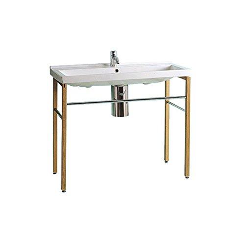 Whitehaus Collection LU030-LUA7 China Series Bath Sink, White/Natural Wood