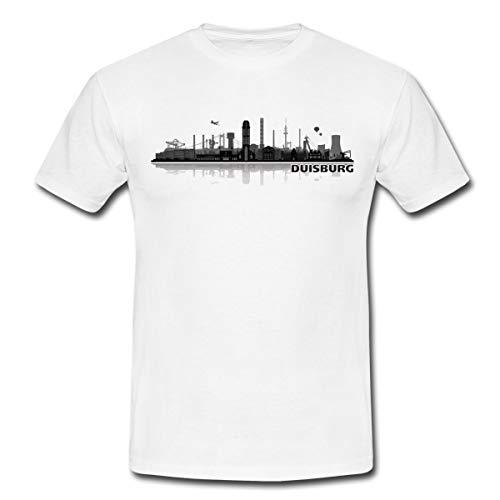 Duisburg Skyline Stadt Silhouette Männer T-Shirt, XXL, Weiß