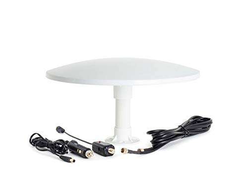 KUMA Cosmos TV Antena Amplificador Kit - Exterior TDT HDTV Antenna Omnidireccional para Auto Caravana Autocaravana Camioneta Barco - 12v Portátil Digital HD BaseTornillo Potente Pulpo Television