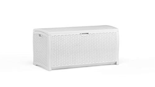 Suncast 99 Gallon Resin Wicker Patio Storage Box - Water Resistant Outdoor Storage Container for Toys, Furniture, Yard Tools - Store Items on Deck, Porch, Backyard - White