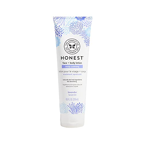 The Honest Company Truly Calming Face + Body Lotion | Dermatologist Tested | Body Lotion for Sensitive Skin | Baby Lotion | Lavender Essential Oils & Chamomile | 8.5 Fl Oz
