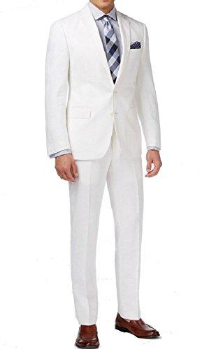 Ryan Seacrest New $650 Distinction White 100% Linen Modern FIT Suit Size 40L