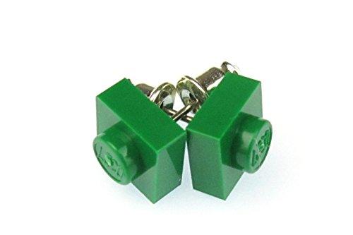 Lego Ohrstecker Miniblings Stecker Ohrringe Baustein Upcycling grün Quadrat