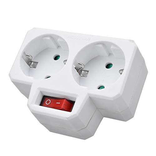 DONTHINKSO Enchufe múltiple estándar Europeo Duradero 250V 16A Enchufe de conversión de Enchufe Doble con Enchufe de Interruptor de Salida Enchufe de Adaptador de Corriente-