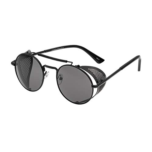 Sunglasses with side shields made from alloy with metal flexible blinders that can be rotated inwards for travelling and when not in use they are a durable set of glasses for all occasions Circle Sunglasses,with spring hinges to allow a comfortable f...
