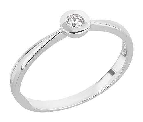 Ardeo Aurum Damenring aus 585 Gold Weißgold mit 0,07 ct Diamant Brillant Solitär-Ring Zargenfassung Verlobungsring