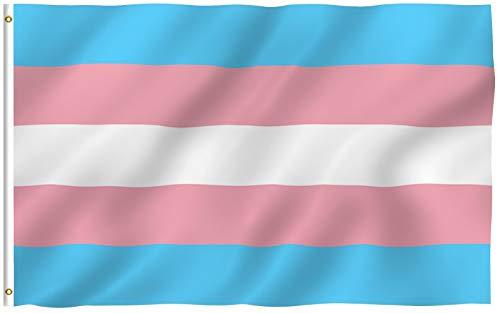 Anley Fly Breeze 3x5 Fuß Transgender Flagge - Lebendige Farbe und UV-beständig - Canvas Header und doppelt genäht - Rosa Blauer Regenbogen Flaggen Polyester mit Messingösen 3 X 5 Ft
