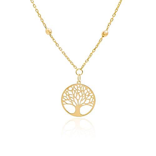 Tala - Collana in Oro Giallo 14k da Donna - Girocollo con Palline e Pendente con Albero della Vita. Peso gr 2