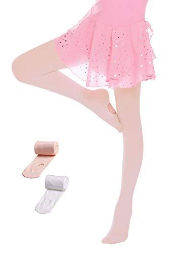 Hawiton 2 Piezas niñas Medias de Danza y Ballet Convertibles 2-13 años, Alto Estiramiento Leotardo niña,Ligeras y Transpirables, Suave y amigables con la Piel