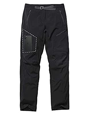 Women's Hiking Pants UPF 40+ Quick Dry Stretch Lightweight Cooling Loose fit Pants with Zipper Pockets,2184,Black, 32
