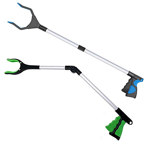 2 PackGrabber Reacher Tool for Elderly 32 Inch Trash Picker Gripper 0°180° Angled Arm Mobility Aid Reaching Assist Tool Foldable Reaching Claw Pickup Tool Litter Picker