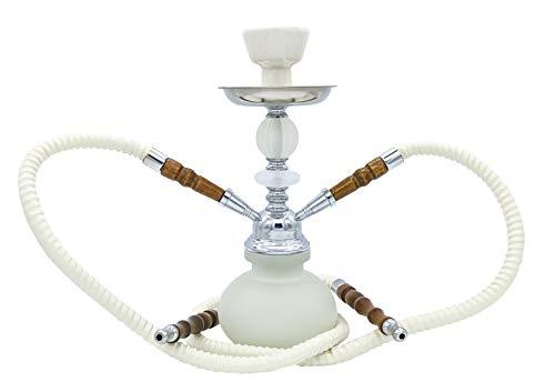 JOVAL - Cachimba shisha o hookah de 27cm. De cristal y metal, con doble manguera para fumar. Depósito de cristal de 200ml. (Blanca)