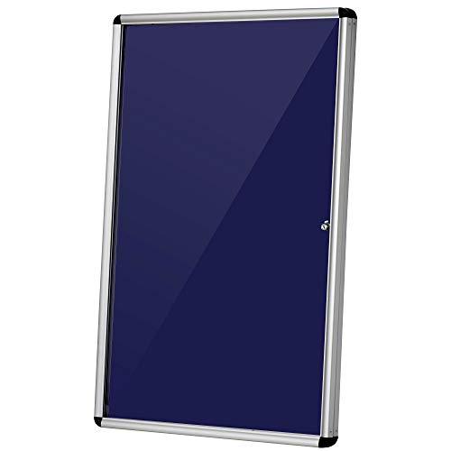 Vinsetto Bacheca Porta Avvisi Chiusa con Serratura e Struttura in Alluminio, Blu e Argento, 90 x 60 x 4.5cm