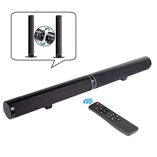 Oyeeice Barra de sonido para TV, barra de sonido Bluetooth con 6 altavoces y 2 membranas de bajos, soporte de pared separado Bluetooth 5.0, HDMI ARC/óptico/USB/entrada RCA, para TV/Mobile/PC