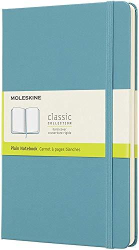 Moleskine - Cuaderno Clásico con Páginas Lisas, Tapa Dura y Goma Elástica, Color Azul Arrecife, Tamaño Grande 13 x 21 cm, 240 Páginas