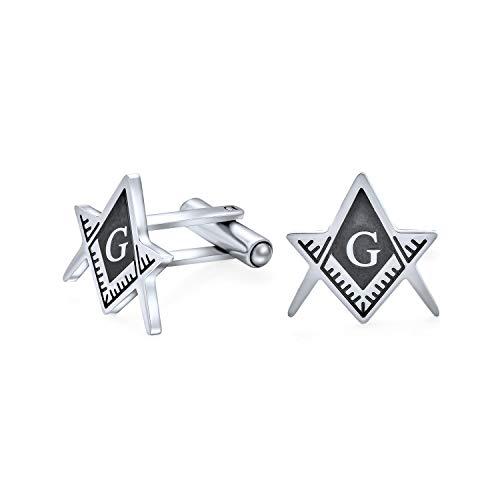 Bling Jewelry Freemasons Compass Symbol Masonic Cufflinks for Men Two Tone Silver Tone Black Enamel Stainless Steel Hinge Bullet Back