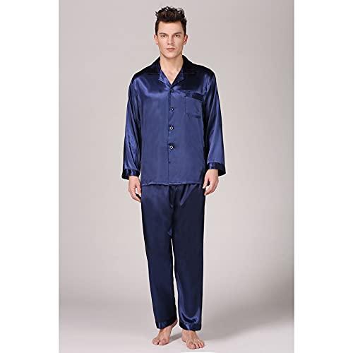 Conjunto De Pijama para Hombre, Camisón De Satén De Seda, Suave Y Acogedor, Camisón De Verano, Camisón, Camisón, Camisa De Manga Larga,Azul,XL