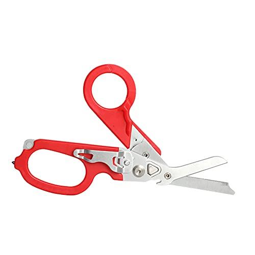 Tijeras Plegables de plier, Herramienta de Supervivencia, portátiles 6 en 1 Emergencia al Aire Libre Tijeras de Acero Inoxidable Rojo