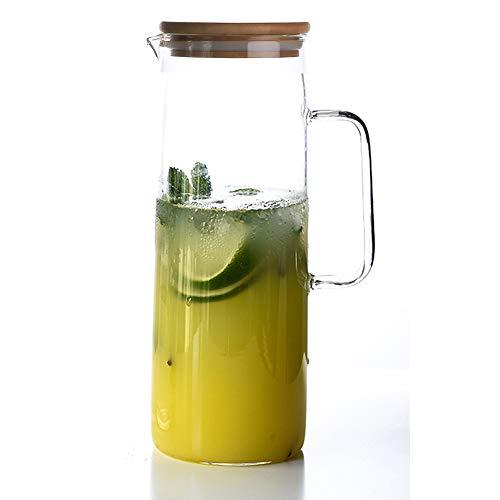 TAMUM 1,5 Liter Wasserkrug mit Bambusdeckel, Gerades Design Wasserkrug
