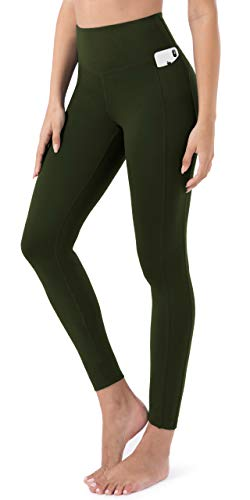 JOYSPELS Womens High Waisted Gym Leggings Yoga Pants Womens Workout Running Sports Leggings with Pockets DarkOlive S