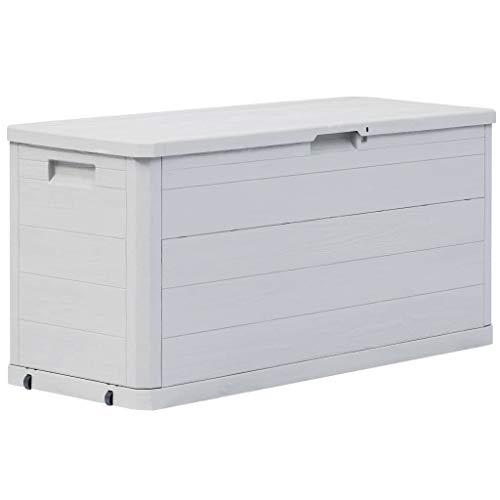 vidaXL Garden Storage Box 280L Light Grey Outdoor Cabinet Chest Organiser Unit