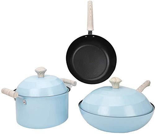 HIGHKAS Stainless_Steel Pot, Steamer Stainless tre Set di pentole Non Sono facili da arrugginire e indossare antiaderenti, pentole per Wok Pentola Padella Lavastoviglie Safe-Package1