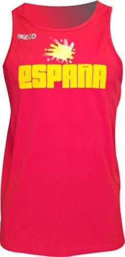 ESPAÑA Camiseta Tecnica EKEKO DE Tirantes para Hombre, Running, Atletismo y Deportes en General, Color Rojo (XXL, Rojo)