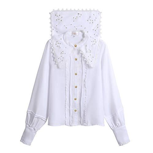 Qwerty shirt met lange mouwen voor dames, herfst, Lolita, Selvatic-garen, goudstrick, merk: QWERTY (kleur: wit, maat: XL)