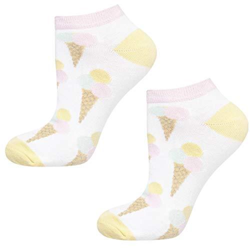 soxo Damen oder Mädchen Sneaker Socken | 11 Lustige Verschiedene Motive | Füsslinge Söckchen für Frauen | Grössen 35-40 (Eis)