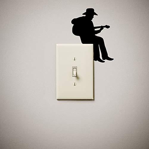 Vaquero, guitarra, músico, lindo y divertido interruptor de luz, pegatina de vinilo para pared, enchufe para interruptor de luz, decoración para adolescentes, sala de juegos, regalo de cumpleaños