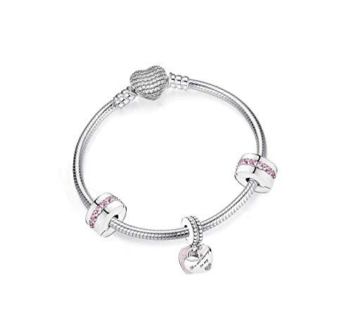 belinia prestige - Pulsera de pulsera, pulsera de mujer, pulsera breloque, compatible con pulseras Pandora, colgante, Cristal, plateado,