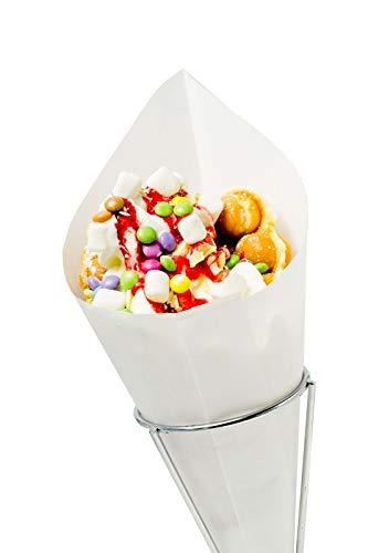 """Spitztüten """"Pommes"""" 125g Waffeln, Mandeln, Schmalzkuchen CandyBar, Imbiss- und Partyzubehör Größe 100 Stück"""
