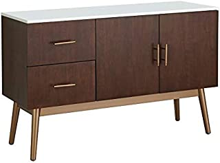 ModHaus Living Modern Transitional Glossy White Top Sideboard Buffet with 2 Drawers 2 Door Cabinet and Gold Tone Angled Legs - Includes Pen