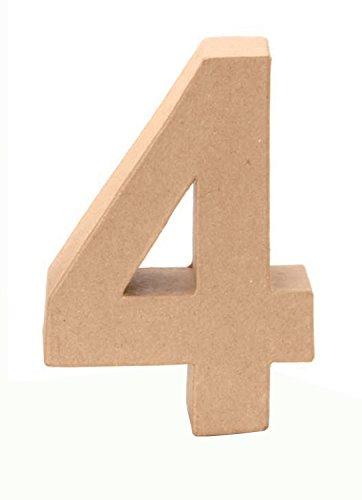 Glorex 6 2029 134 - Papp - Zahl 4, aus brauner Pappe, ca. 17,5 X 5,5 cm groß, zum bemalen und bekleben, für Serviettentechnik und Décopatch, ideal als Dekoration