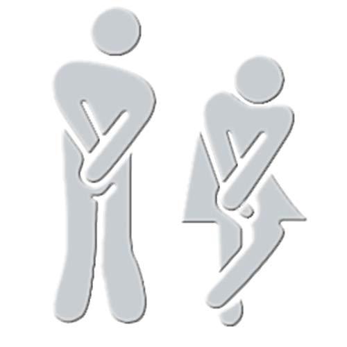 Hacoly Toilette Spiegel Wandaufkleber Wall Männer und Frauen WC Markiert Mirror Wandsticker Spiegelfliesen Toilette Glasfenster Wandspiegel selbstklebend Aufkleber Wandtattoo Esszimmer Wanddeko Silber