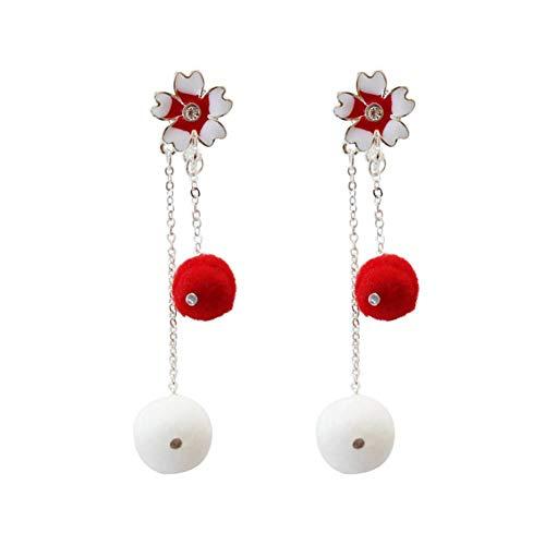 MDHANBK Orecchini da Donna Rosso Bianco Tondo batuffolo di Cotone Fiore di ciliegio Orecchini Pendenti con Nappa Lunga Regalo di Festa per la Festa di