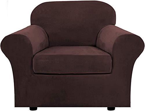 Pillowcase Funda de sofá de Terciopelo con 2 Fundas de cojín separadas, Protector Antideslizante de Repuesto de Funda de sofá de Felpa Ultra Suave elástica (marrón, 2 plazas (122-172 cm))