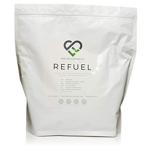 REFUEL Post Workout Grass Fed Whey Protein Isolate and High Carb Formula by LLS | 2.42kg - 30 Servings | Contains Waxy Maize Starch, EAA's, L-Glutamine, Matcha Green Tea and Digestive Enzymes