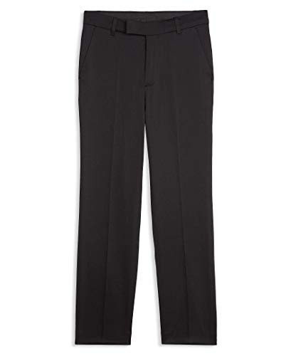 Calvin Klein Boys' Big Flat Front Suit Dress Pant, Satin Black, 10