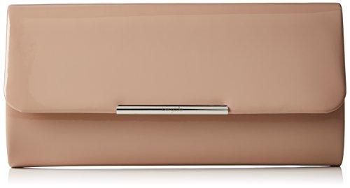 Berydale Damen Lack Handtasche, Clutch Schultertasche mit Zusatzkette und Magnetverschluss, Beige/Stone