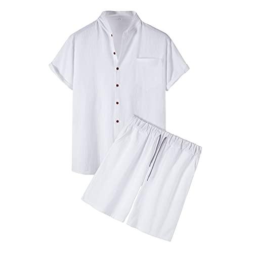 Kalkaly Tuta Uomo Estiva Completa Cotone E Lino Manica Corta Camicia Coreana + Pantaloncini Set Tute...