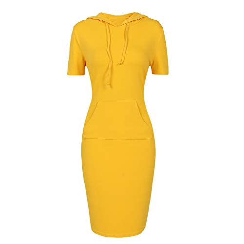TOPUNDER Pullover Pocket Knee Length Slim Hoodie Dresses Casual Sweatshirt Dress Women (X-Large, Solid Short Sleeve Yellow)
