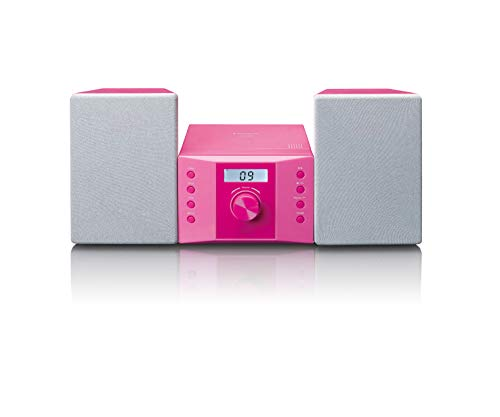 Lenco MC-013PK Stereoanlage - Kompaktanlage für Kinder - Radio CD-Player - LCD Display - AUX Eingang - 2 x 2 Watt RMS - mit Aufklebern - rosa