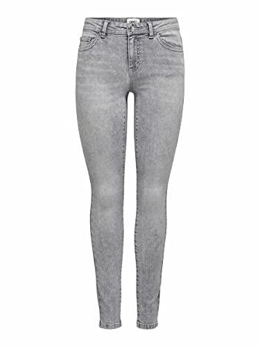 ONLY Damen ONLWAUW Life MID SK BB BJ694 NOOS Jeans, Medium Grey Denim, M/32