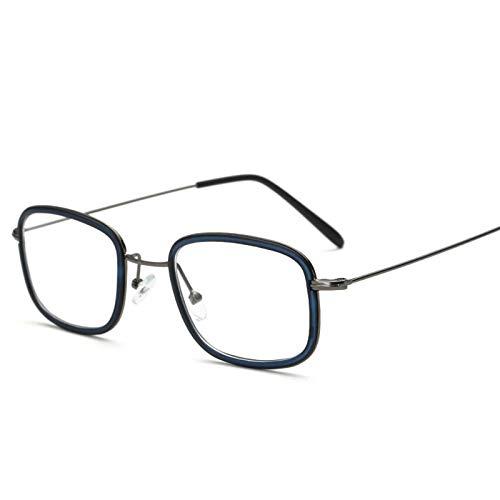 NXX Gafas Cuadradas De Moda Retro Gafas De Lentes Transparentes Gafas con Montura Metálica Sin Receta,1.50X