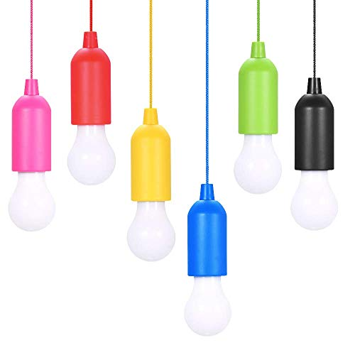 Pull Light Lampe 6PCS,KIPIDA Tragbare LED Campinglampe mit Zugschalter,Colors Glühbirnen Weiß LED Leuchte Mobile Leuchte für Garten Balkon Kleiderschrank Zelt Angeln Party Dekoration,Batteriebetrieben